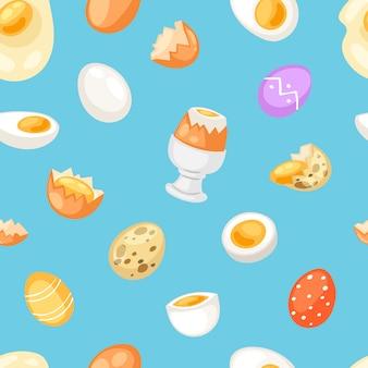 Ei-osternahrung und gesundes eiweiß oder eigelb im eierbecher oder kochomelett in der bratpfanne für frühstücksillustrationssatz von eierschalen- oder eiförmigen zutaten nahtlosen musterhintergrund