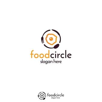 Ei und löffel, gabel, messer kreis logo konzept für mahlzeit produkt, app oder lebensmittel web blog.