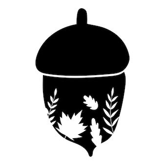 Eichel silhouette und blätter eichel herbst vektor icon illustration isoliert auf weißem hintergrund