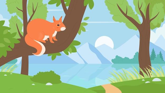 Eichhörnchen, das auf einem ast in der waldnatur sitzt, wildes tier, das im sommerlaub spielt Premium Vektoren