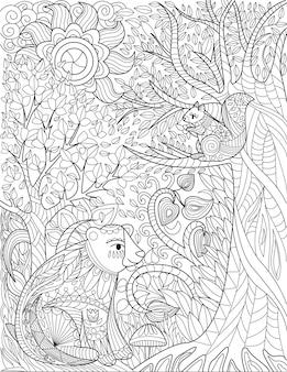 Eichhörnchen, die auf einem wildwald mit hohen bäumen ruhen, sonnen sich hoch farblose linienzeichnung wild