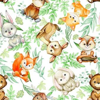 Eichhörnchen, hirsch, streifenhörnchen, kaninchen, fuchs, pflanzen. nahtloses muster auf einem isolierten hintergrund, in aquarell gemalt
