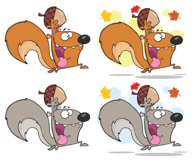 Eichhörnchen-karikatur-maskottchen-charakter, der mit eichel läuft.