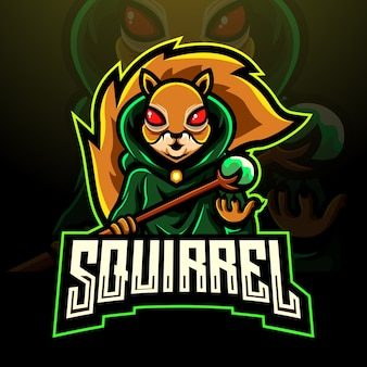 Eichhörnchen magier esport logo maskottchen design