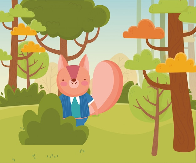 Eichhörnchen mit im waldlaub natur