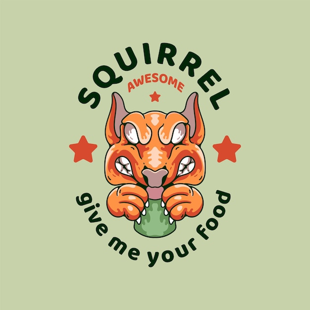 Eichhörnchen mit schädel-illustration retro-stil für t-shirt-design