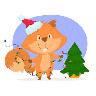 Eichhörnchen mit weihnachtsmütze und weihnachtsbaum