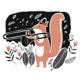 Eichhörnchen spielt die musik