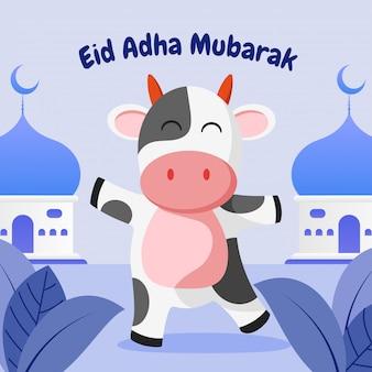 Eid adha mubarak grußkarte mit glücklicher kuh und moschee flache illustration