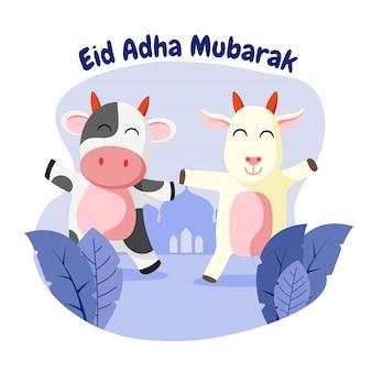 Eid adha mubarak grußkarte mit glücklicher kuh und ziege flache illustration