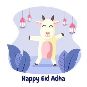 Eid adha mubarak grußkarte mit glücklicher ziege flache illustration