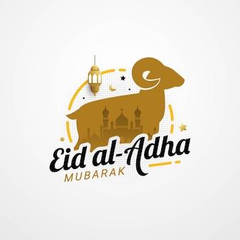 Eid adha mubarak grußkarte mit schriftzug typografie design