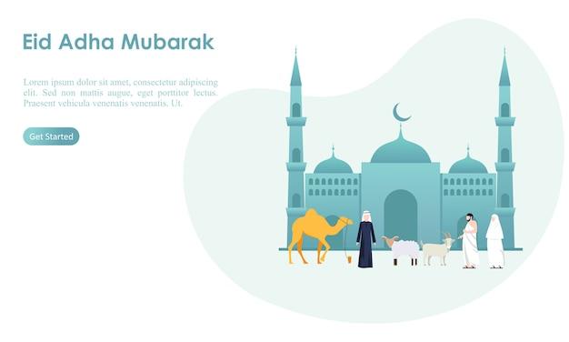 Eid adha mubarak und hadsch-vorlage