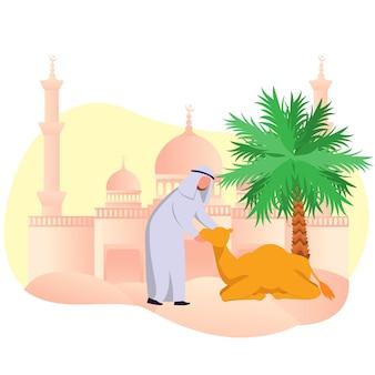 Eid adha mubarrak araber muslim mit seinem kamel in dessert