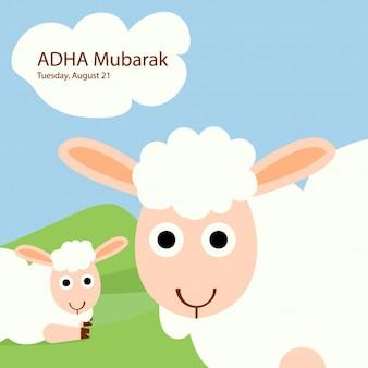 Eid al-adha das opfer, um schafe zu rammen oder zu lächeln