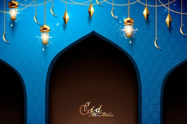Eid al adha design mit hängenden laternen