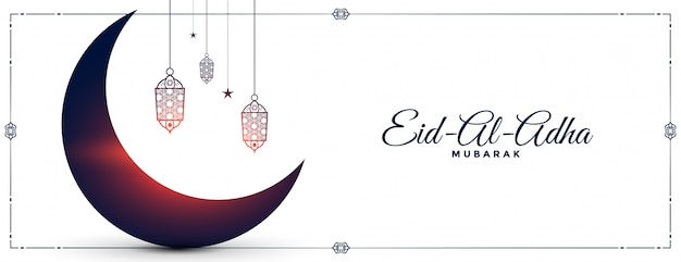 Eid al adha festival wünscht banner mit mond und lampen
