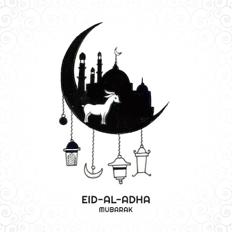 Eid al-adha-grußkarte für muslimischen feiertagshintergrund