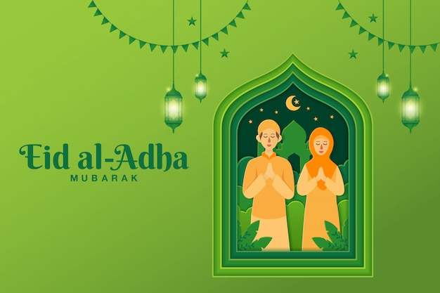 Eid al-adha grußkarten-konzeptillustration im papierschnittstil mit dem muslimischen karikaturpaar, das eid al-adha segnet