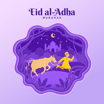 Eid al-adha grußkarten-konzeptillustration im papierschnittstil mit muslimischem jungen bringen vieh für opfer