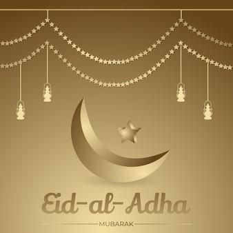 Eid al adha hintergrund goldener halbmond