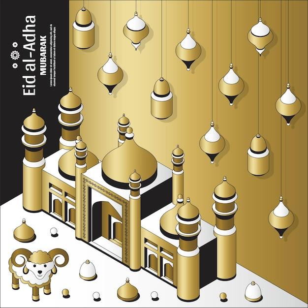 Eid al adha hintergrund isometrische islamische arabische moschee laternen und schaf grußkarte festival von ...