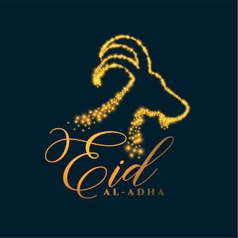 Eid al adha hintergrund mit funkelndem gesicht der ziege