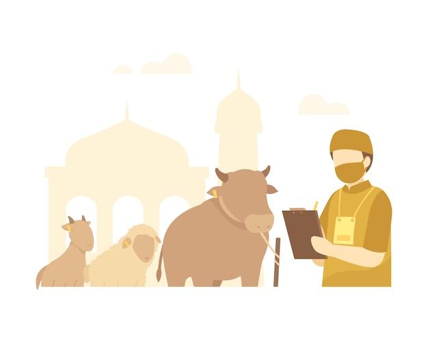 Eid al-adha hintergrund mit qurban-komitee zeichnet tiere auf