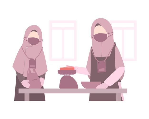 Eid al-adha illustration hintergrund mit muslimischen frauen tragen hijab und wiegen ein fleisch