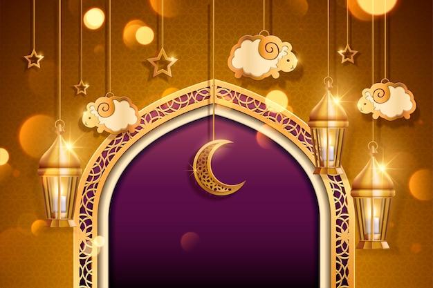 Eid al adha mit hängenden schafen und laternen, goldener und violetter ton