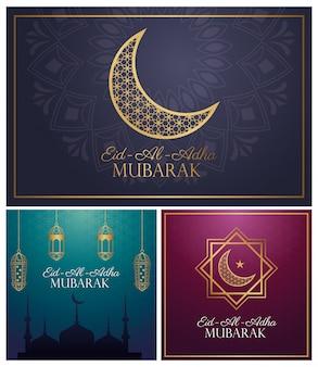 Eid al adha mubarak feier mit goldenen satzikonen