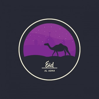 Eid al-adha mubarak feiert das design im kamelstil und das moscheendesign, begleitet von sternen. illustration
