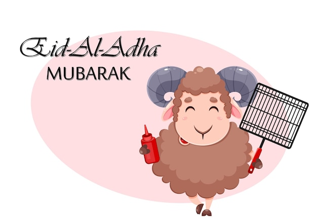 Eid al adha mubarak-grußkarte mit cartoon-opferschafen für die feier des muslimischen traditionellen festivals ram mit grillrost und ketchup