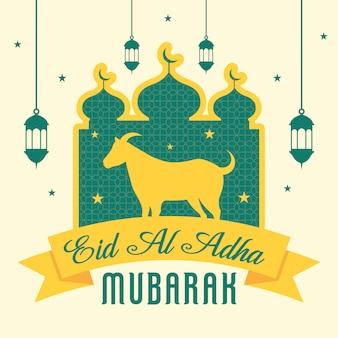 Eid al adha mubarak hintergrund mit ziege