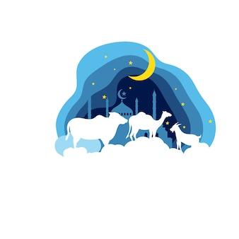 Eid al adha mubarak ikonenvektor