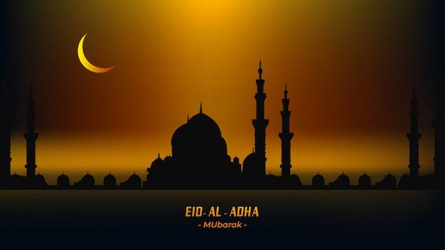 Eid al adha mubarak illustration mit moscheehintergrund.