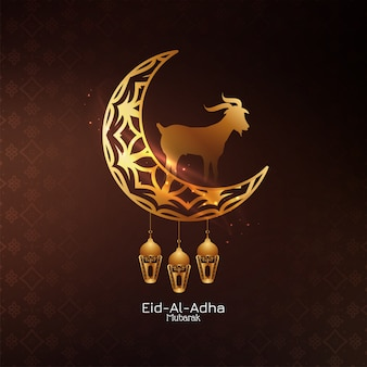 Eid al adha mubarak islamischer hintergrund mit halbmond