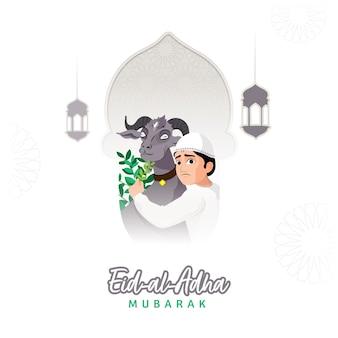 Eid-al-adha mubarak-konzept mit muslimischem jungen, der gras füttert