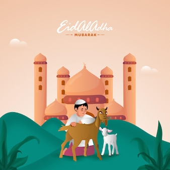 Eid-al-adha mubarak-konzept mit muslimischem jungen, der ziegen und moschee-illustration streichelt