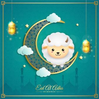 Eid al adha mubarak mit laternensichel und schafen
