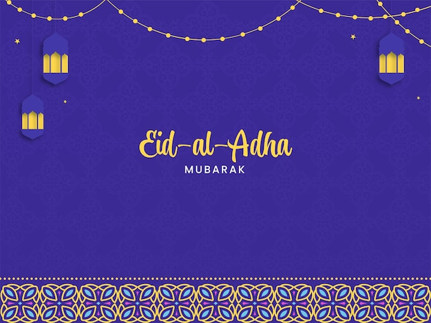 Eid-al-adha mubarak schrift mit hängenden papierlaternen