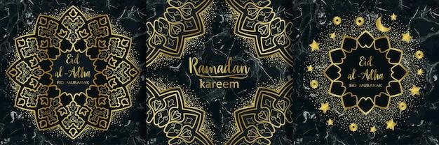 Eid al adha und ramadan kareem goldene und marmor-urlaubsvorlagen-set