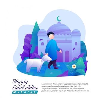 Eid al-adha zeigt einen mann mit einer ziege als opfer