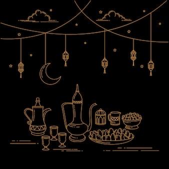 Eid al-fitr celebration strichgrafiken