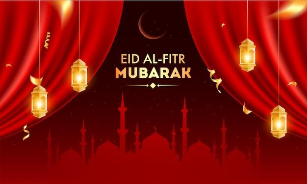 Eid al fitr feier banner design mit silhouette moschee, halbmond und hängenden goldenen beleuchteten laternen auf offenem roten vorhang hintergrund.