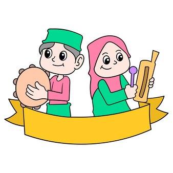 Eid al-fitr-feierbanner mit muslimischen jungen- und mädchenzeichentrickfilm-figuren, vektorillustrationskunst. doodle symbolbild kawaii.
