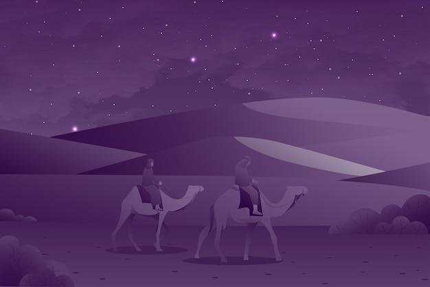 Eid al fitr grußkarte mit kamel und menschen reiten