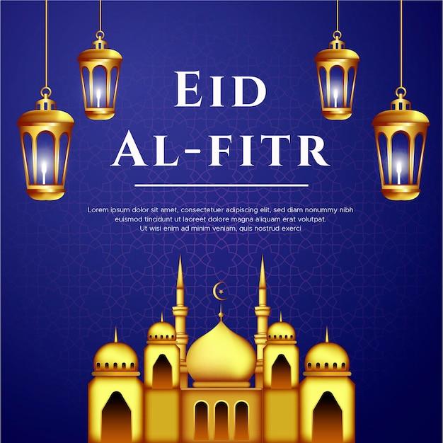 Eid al fitr grußkarte mit lampen und moschee