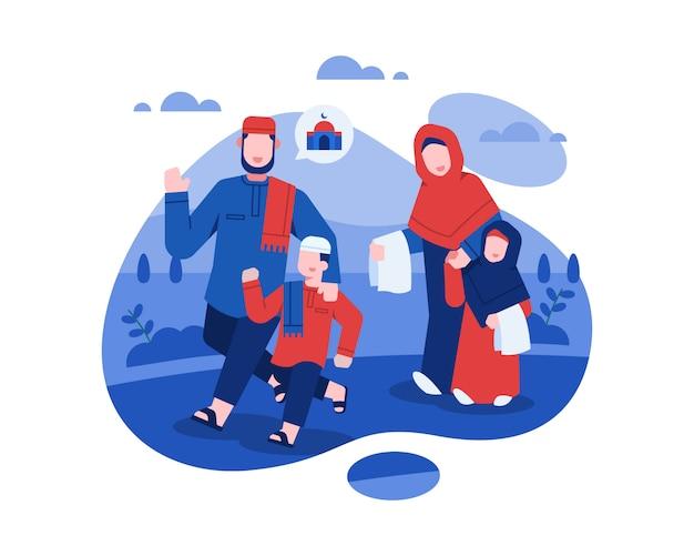 Eid al fitr illustration mit der muslimischen familie, die zusammen zur moschee betet