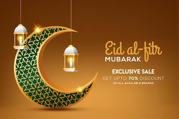 Eid al fitr mubarak mit schimmerndem goldenen halbmond und laterne